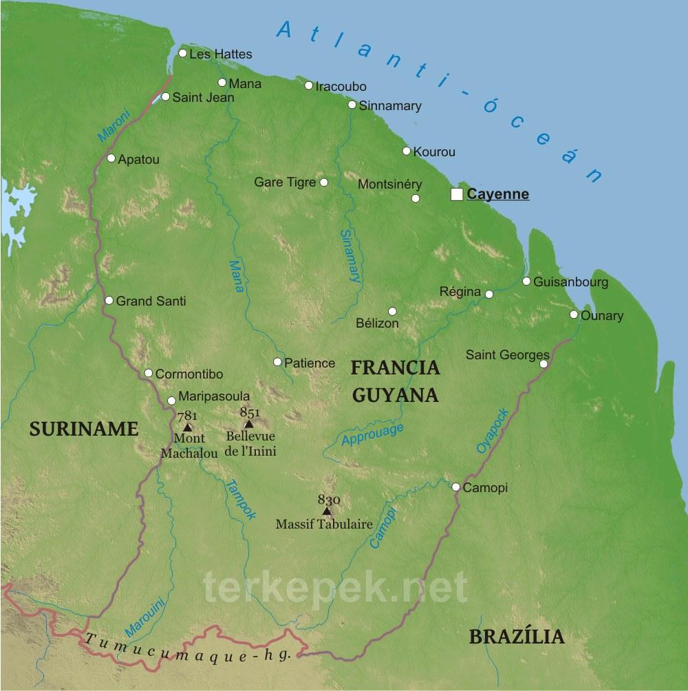 franciaország domborzati térkép Francia Guyana domborzati térképe franciaország domborzati térkép